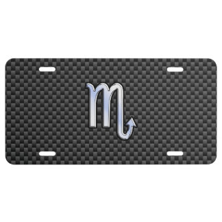 Scorpio Zodiac Symbol on Carbon Fiber Print License Plate