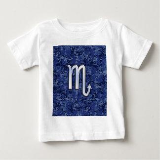 Scorpio Zodiac Symbol on Navy Blue Camo Baby T-Shirt