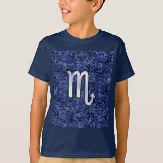 Scorpio Zodiac Symbol on Navy Blue Camo T-Shirt
