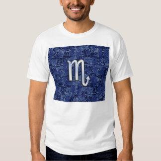 Scorpio Zodiac Symbol on Navy Blue Camo Tee Shirt