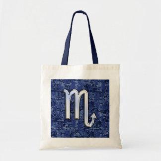 Scorpio Zodiac Symbol on Navy Blue Camo Tote Bag