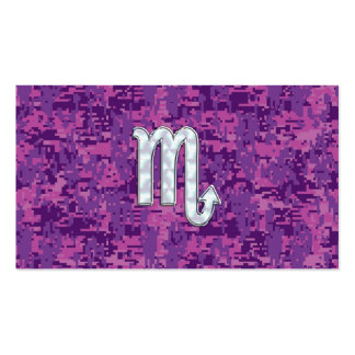 Scorpio Zodiac Symbol on Pink Digital Camo Business Card