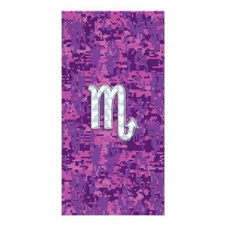 Scorpio Zodiac Symbol on Pink Digital Camo Card