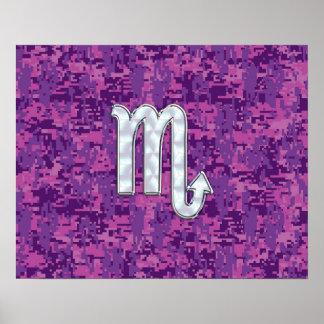 Scorpio Zodiac Symbol on Pink Digital Camo Poster