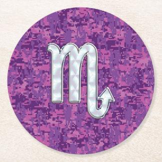 Scorpio Zodiac Symbol on Pink Digital Camo Round Paper Coaster