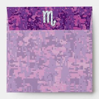Scorpio Zodiac Symbol on Pink Digital Camouflage Envelope