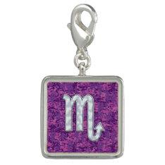 Scorpio Zodiac Symbol on Pink Digital Camouflage Photo Charm at Zazzle
