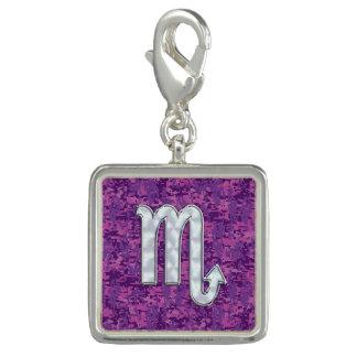 Scorpio Zodiac Symbol on Pink Digital Camouflage Photo Charm