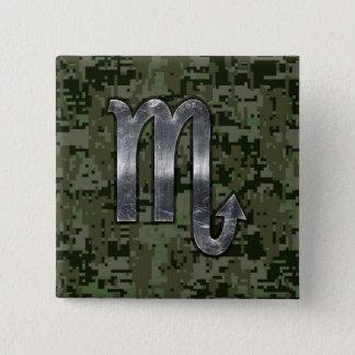 Scorpio Zodiac Symbol Woodland Digital Camo Button
