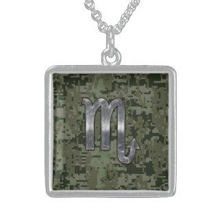 Scorpio Zodiac Symbol Woodland Digital Camo Sterling Silver Necklace