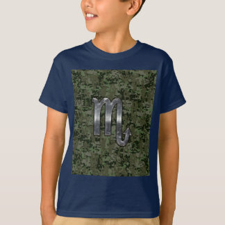 Scorpio Zodiac Symbol Woodland Digital Camo T-Shirt