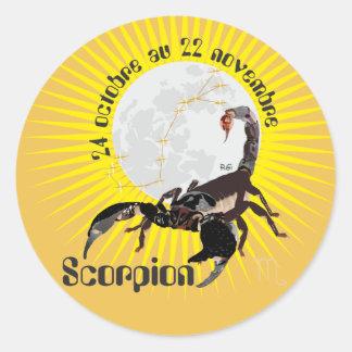 Scorpion 24 octobre outer 22 novembre Autocollant Classic Round Sticker