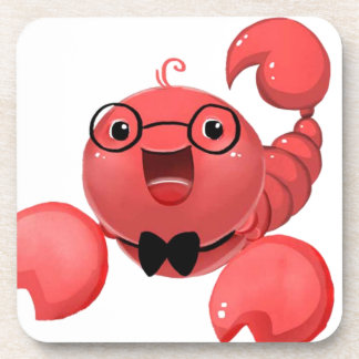 Scorpion Image cute with glasses Beverage Coaster