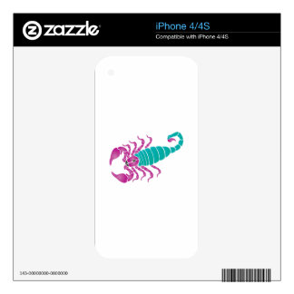 Scorpion Image Purple Teal Skins For iPhone 4S