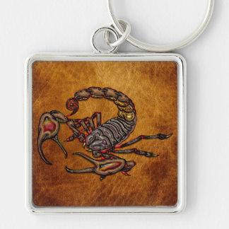 Scorpion Silver-Colored Square Keychain
