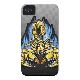 Scorpion Mech Metallic Flaming Illustration iPhone 4 Case