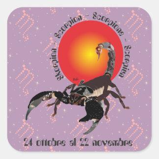Scorpione 24 al ottobre 22 Etichetta novembre Pegatina Cuadrada