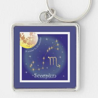 Scorpiun 24 more october fin 22 November Silver-Colored Square Keychain