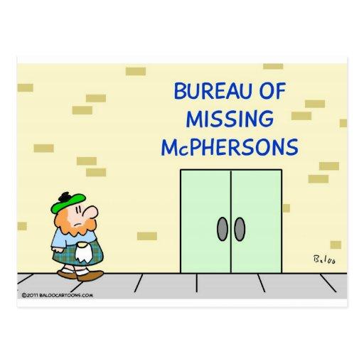 "Scot sees ""Bureau of Missing McPhersons."" Postcards"