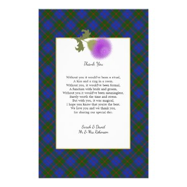 Beach Themed Scotch Clan Tartan Wedding Poem Thank You Scroll Flyer