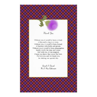 Scotch Clan Tartan Wedding Poem Thank You Scroll Flyer