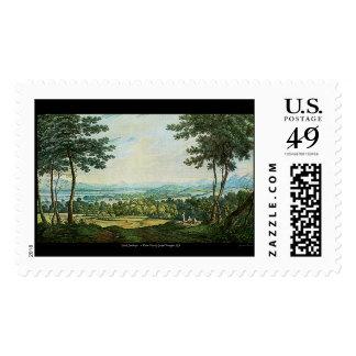 Scotch Landscape Watercolor Painting Postal Stamp