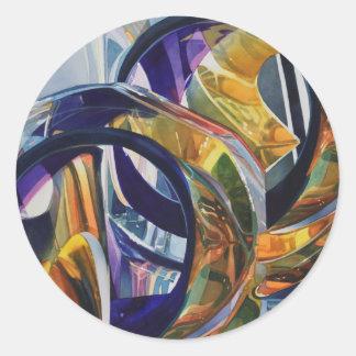 """Scotch on the Rocks"" Art Glass Watercolor Classic Round Sticker"