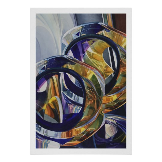 """""""Scotch on the Rocks"""" Art Glass Watercolor Poster"""