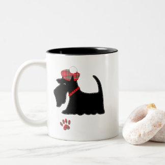Scotch Terrier Dog  In Cute Tartan Hat Two-Tone Coffee Mug