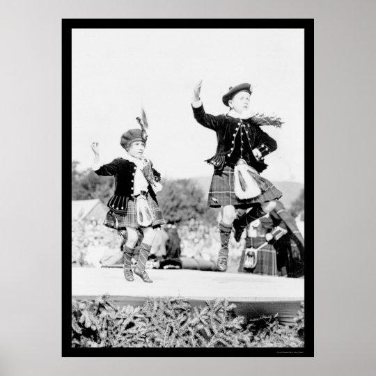 Scotish Kids Dancing in Kilts 1912 Poster