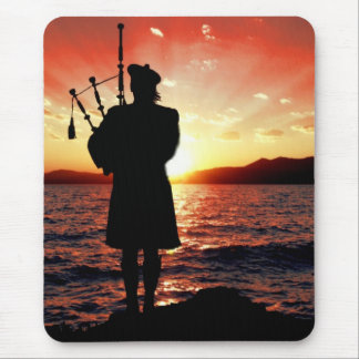 Scotland bag pipper at sunset mouse pad