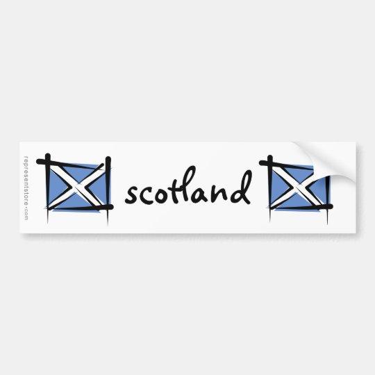 Scotland Brush Flag Bumper Sticker