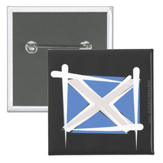 Scotland Brush Flag Pinback Buttons