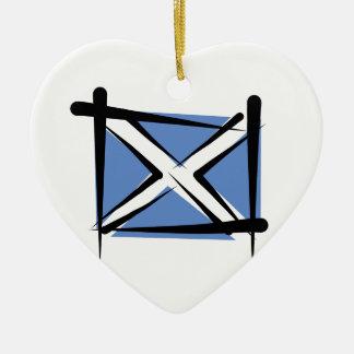 Scotland Brush Flag Ceramic Ornament