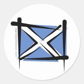 Scotland Brush Flag Classic Round Sticker