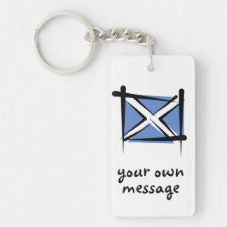 Scotland Brush Flag Double-Sided Rectangular Acrylic Keychain
