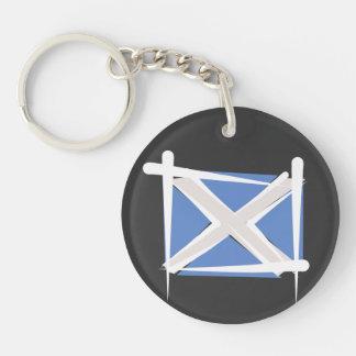 Scotland Brush Flag Double-Sided Round Acrylic Keychain