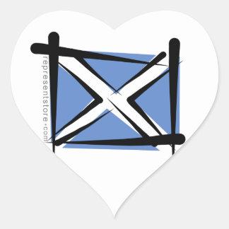 Scotland Brush Flag Heart Sticker