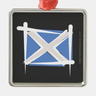 Scotland Brush Flag Metal Ornament