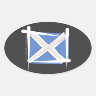 Scotland Brush Flag Oval Sticker