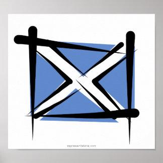 Scotland Brush Flag Posters