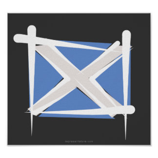 Scotland Brush Flag Poster