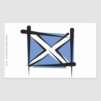 Scotland Brush Flag Rectangular Sticker