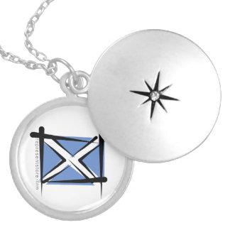Scotland Brush Flag Round Locket Necklace