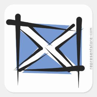 Scotland Brush Flag Square Sticker