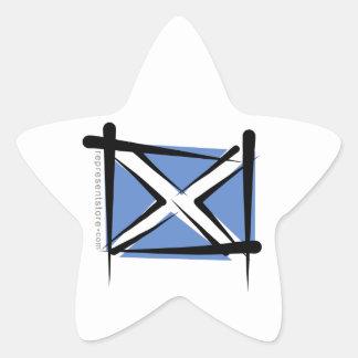 Scotland Brush Flag Star Sticker