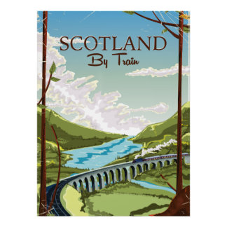 Scotland By train locomotive Travel poster