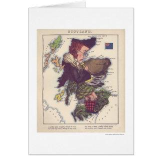 Scotland Caricature Map 1868 Greeting Card