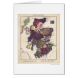 Scotland Caricature Map 1868 Greeting Card