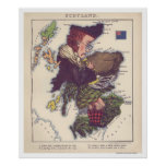 Scotland Caricature Map 1868 Posters